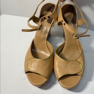 Beautiful Leather Chloe Wedge Sandals sz.10